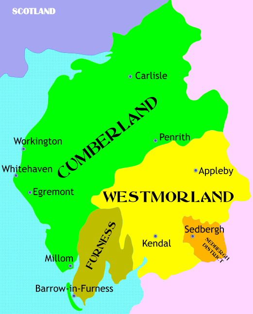 Parish Map of the county of Cumbria